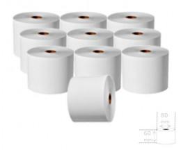 10 Rollos de Papel Térmico 60x80x17mm