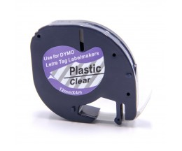 Cinta Compatible DYMO 12267 Negro / Transparente 12mm x 4m