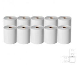 10 Rollos de Papel Térmico 57x55x12mm