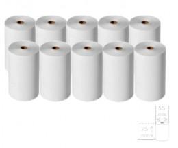 10 Rollos de Papel Térmico 75x55x12mm