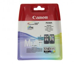 2 Cartuchos de tinta Originales, Canon PG-510 / CL-511 Negro 9ml + Colores 9ml