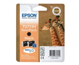 2 Cartuchos de tinta Originales, Epson T0711H Negro 11.1ml