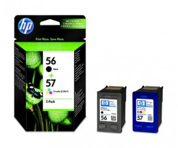2 Cartuchos de tinta Originales, HP 56 Negro 19ml + 57 Colores 17ml