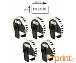 5 Etiquetas Compatibles, Brother DK22210 29mm x 30.48m Rollo Blanco