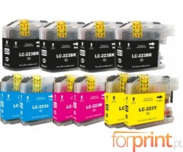 10 Cartuchos de tinta Compatibles, Brother LC-221 / LC-223 Negro 16.6ml + Colores 9ml
