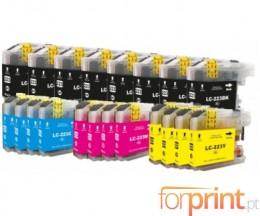 20 Cartuchos de tinta Compatibles, Brother LC-221 / LC-223 Negro 16.6ml + Colores 9ml