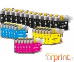 30 Cartuchos de tinta Compatibles, Brother LC-221 / LC-223 Negro 16.6ml + Colores 9ml