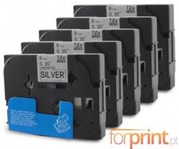 5 Cintas Compatibles, Brother TZE921 9mm x 8m Laminado