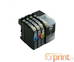 4 Cartuchos de tinta Compatibles, Brother LC-529 XL Negro + LC-525 XL Colores ~ 2.600 / 1.500 Pages