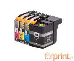 4 Cartuchos de tinta Compatibles, Brother LC-12E BK Negro + Colores