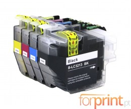 4 Cartuchos de Tinta Compatibles, Brother LC3211 / LC3213 Negro + Colores ~ 400 Paginas