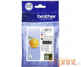 4 Cartuchos de Tinta Originales, Brother LC3211 Negro + Colores ~ 200 Paginas