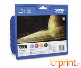 4 Cartuchos de tinta Originales, Brother LC1100 Negro 9.5ml + Colores 5.5ml