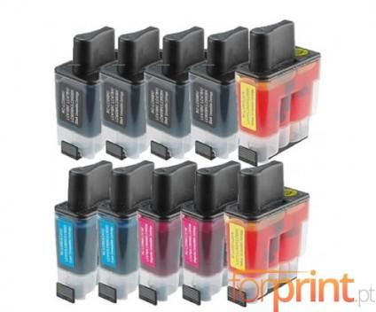 10 Cartuchos de tinta Compatibles, Brother LC-900 Negro 20ml + Colores 12ml