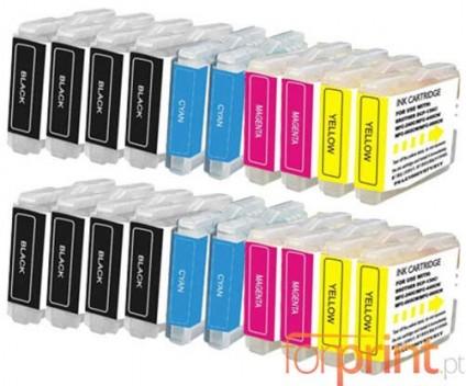 20 Cartuchos de tinta Compatibles, Brother LC-970 XL / LC-1000 XL Negro 36ml + Colores 26.6ml