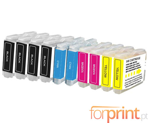 10 Cartuchos de tinta Compatibles, Brother LC-970 XL / LC-1000 XL Negro 36ml + Colores 26.6ml