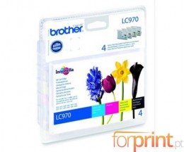 4 Cartuchos de tinta Originales, Brother LC970VALBPDR Negro 9ml + Colores 6ml