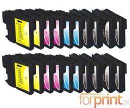20 Cartuchos de tinta Compatibles, Brother LC-980 XL / LC-1100 XL Negro 28ml + Colores 18ml