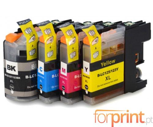 4 Cartuchos de tinta Compatibles, Brother LC-121 / LC-123 Negro 20.6ml + Colores 10ml