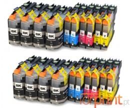 20 Cartuchos de tinta Compatibles, Brother LC-121 / LC-123 Negro 20.6ml + Colores 10ml