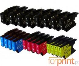 20 Cartuchos de tinta Compatibles, Brother LC-1220 / LC-1240 / LC-1280 Negro 32.6ml + Colores 16.6ml