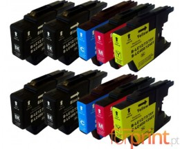10 Cartuchos de tinta Compatibles, Brother LC-1220 / LC-1240 / LC-1280 Negro 32.6ml + Colores 16.6ml