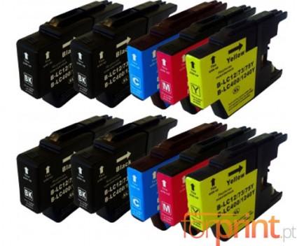 10 Cartuchos de tinta Compatibles, Brother LC-1220 / LC-1240 / LC-1280 Negro 32.6ml + Colores 16.6ml
