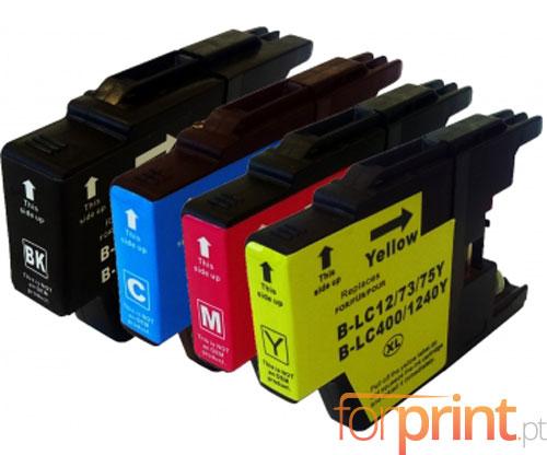 4 Cartuchos de tinta Compatibles, Brother LC-1220 / LC-1240 / LC-1280 Negro 32.6ml + Colores 16.6ml