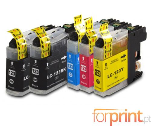 5 Cartuchos de tinta Compatibles, Brother LC-121 / LC-123 Negro 20.6ml + Colores 10ml