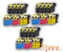 30 Cartuchos de tinta Compatibles, Brother LC-121 / LC-123 Negro 20.6ml + Colores 10ml