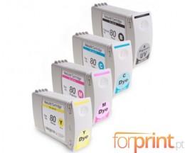 4 Cartuchos de tinta Compatibles, HP 80 Negro + Colores 400ml