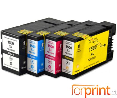 4 Cartuchos de tinta Compatibles, Canon PGI-1500 Negro 36ml + Colores 11.5ml