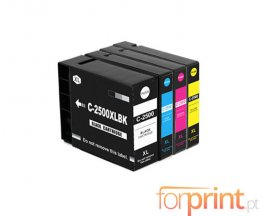 4 Cartuchos de Tinta Compatibles, Canon PGI-2500 XLBK Negro 74.6ml + Colores 20.4ml
