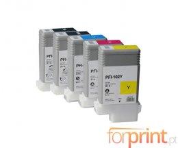 5 Cartuchos de Tinta Compatibles, Canon PFI-102 Negro + Colores 130ml