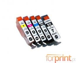 5 Cartuchos de Tinta Compatibles, Canon PGI-7 Negro 24ml + PGI-9 Colores 13.4ml