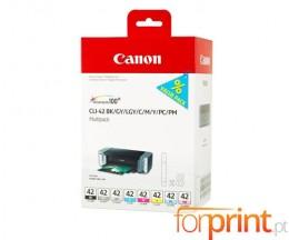 8 Cartuchos de tinta Originales, Canon CLI-42 BK / C / M / Y / LC / LM / GY / LGY 13ml