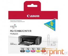 5 Cartuchos de tinta Originales, Canon PGI-72 MBK / C / M / Y / R 14ml