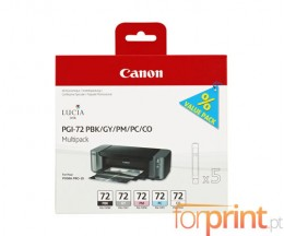 5 Cartuchos de tinta Originales, Canon PGI-72 PBK / GY / PM / PC / CO 14ml