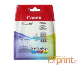 3 Cartuchos de tinta Originales, Canon CLI-521 Colores 9ml