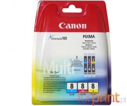 3 Cartuchos de tinta Originales, Canon CLI-8 Colores 13ml