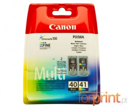 2 Cartuchos de tinta Originales, Canon PG-40 / CL-41 Negro 16ml + Colores 12ml