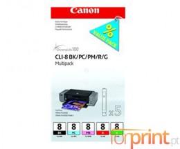 5 Cartuchos de tinta Originales, Canon PGI-8 BK / PC / PM / R / G 13ml