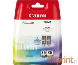 2 Cartuchos de tinta Originales, Canon CLI-36 Colores 12ml
