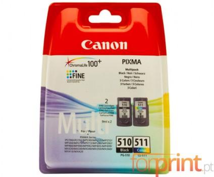 2 Cartuchos de tinta Originales, Canon PG-510 / CL-511 Negro 9ml + Colores 9ml