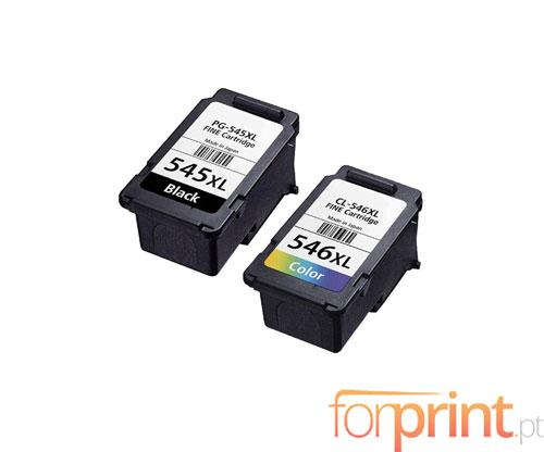 2 Cartuchos de Tinta Compatibles, Canon PG-545 / CL-546 Negro 16ml + Colores 14.5ml