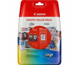 2 Cartuchos de tinta Originales, Canon PG-540 XL / CL-541 XL Negro 21ml + Colores 15ml + 50 Hojas 10x15cm