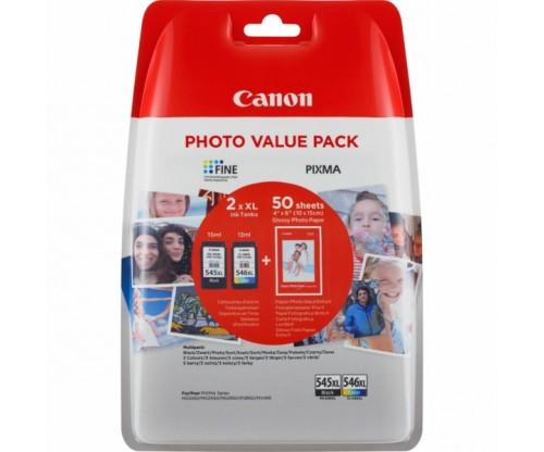 2 Cartuchos de tinta Originales, Canon PG-545 XL / CL-546 XL Negro 15ml + Colores 13ml + 50 Hojas 10x15cm