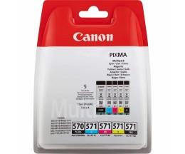 5 Cartuchos de Tinta Original, Canon PGI-570 / CLI-571 Negro 15ml + Colores 7ml