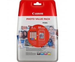 4 Cartuchos de Tinta Original, Canon CLI-571XL Colores 11ml + 50 Hojas 10x15cm