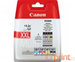 4 Cartuchos de tinta Originales, Canon CLI-581 XXL C / M / Y / PBK